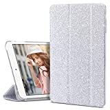 iPad Mini 3 Case, iPad Mini 2 Case, iPad Mini Case, ULAK Slim Bumper Smart Case Stand for Apple iPad Mini 1/2/3 Colorful Clear Back Cover Lightweight with Auto Sleep/Wake Function, Silver Bling