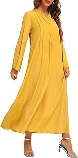 FridayIn Women's Yellow A-Line Long Sleeve Summer Button Down V Neck Loose Long Dress