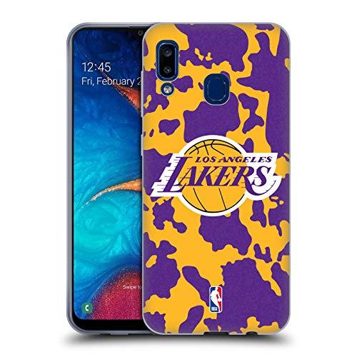 Head Case Designs Oficial NBA Estampado Animal de Vaca Los Angeles Lakers 3 Carcasa de Gel de Silicona Compatible con Samsung Galaxy A20 / A30 2019