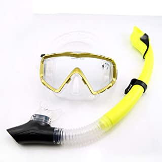 XY Swimming Goggles - Wide-Angle Three-Window Goggles Full Dry Snorkel Snorkeling Three Treasures Equipped with Adult Mirror Water Sports Glasses (Color : Yellow)