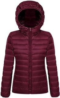 QZUnique Women's Light Weight Packable Short Hooded Down Jacket Outwear Coats