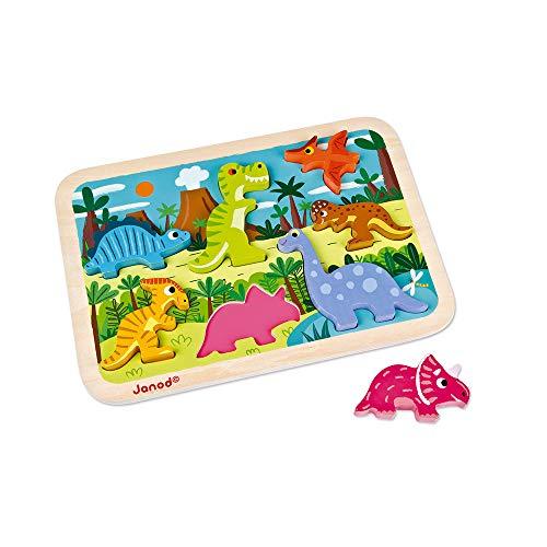 Janod Chunky Puzzle de madera, Dinosaurios (J07054)