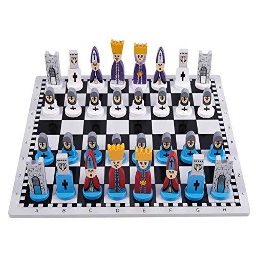 YLJR Juego de ajedrez para niños de ajedrez de madera, juguetes de ajedrez de cómic ligero para la familia adorno