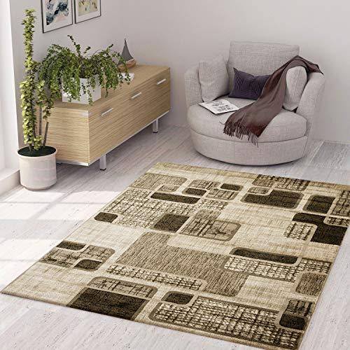 VIMODA Designer Teppich Kariert Retro Muster Meliert in Braun Hellbraun Beige, Maße:120 x 170 cm