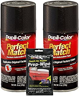 Dupli-Color Universal Black Metallic Exact-Match Automotive Paint (8 oz) Bundle with Prep Wipe Towelette (3 Items)