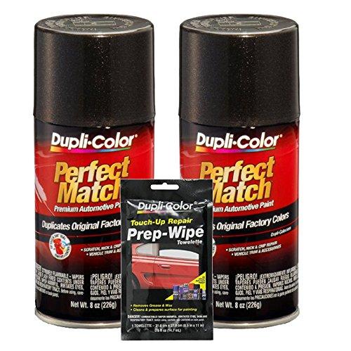 Dupli-Color Universal Black Metallic Exact-Match Automotive Paint (8 oz) Bundle with Prep Wipe Towelette (3 Items)