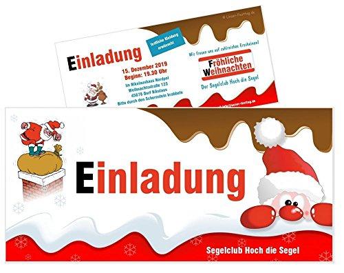 Einladungen für Weihnachtsfeier Männer Frauen Erwachsene lustig originell - mit Wunschtext - 5 Karten, Größe 21 x 9,9 cm