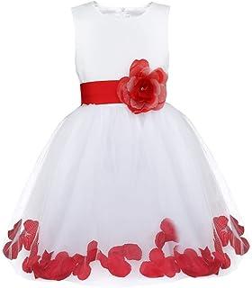 9f7d0e69df848 IEFIEL Robe Demoiselle d honneur Enfant Jupe Loose Pétales Noeud Papillon  au Dos Fleur Robe