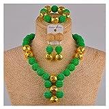 LPZW Juego de joyería Africano de Oro simulado de Color Beige Conjuntos de Boda nigerianos Collar de Vestuario FZZ30-06 (Metal Color : Green)