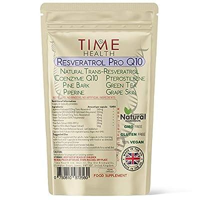 Resveratrol Pro Q10 - Trans-Resveratrol, Coenzyme Q10, Pterostilbene, Pine Bark, Green Tea, Grape Skin, Piperine - Split Dose for Maximum Benefits from Resveratrol and Q10 - UK Manufactured - Zero Additives - 60 Capsules - Pullulan (60 Capsules)