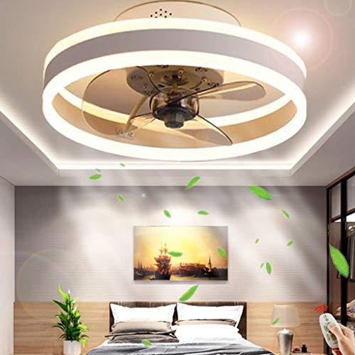 Luz de techo Ventilador techo iluminación Ventilador luz LED moderno Control remoto Regulable Lámpara techo silenciosa Sala estar Dormitorio Habitación los niños Lámpara 6 velocidades,Blanco,50cm