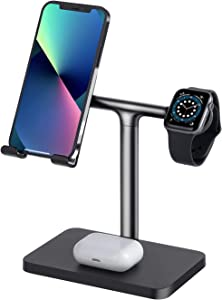 Multifunction Charging Station for Apple Watch Charger Stand Dock for iWatch Series 7/6/SE/5/4/3/2/1,Compatible with iPad/iPhone 13 Pro/iPhone 12/11/ Xs/X Max/XR/X/8/8Plus/7/7 Plus /6S /6S Plus/