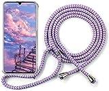 ZHXMALL Funda con Cuerda para Xiaomi Redmi 9,Ajustable Collar Correa,Case y Cordón,Suave Transparente Antiamarillejo TPU Silicona Carcasa [Anti-rasguños] [Anti-Choque] - Morada