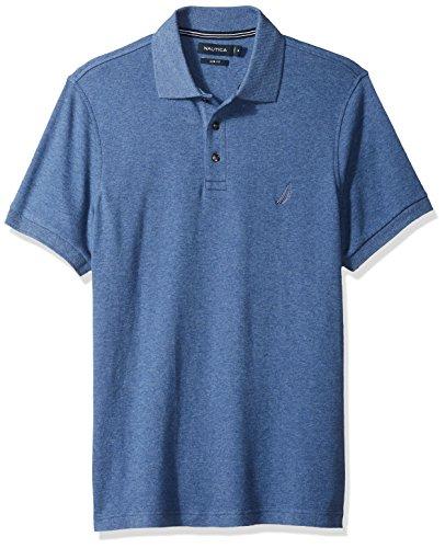 Nautica Men's Slim Fit Short Sleeve Solid Soft Cotton Polo Shirt, Blue Indigo Heather, Medium
