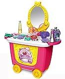 Brigamo Mesa de tocador enrollable con espejo cosmético y numerosos accesorios.