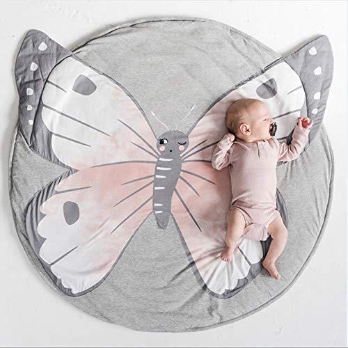 Satbuy Baby Rugs Creeping Crawling Mat Cartoon Sleeping Rugs, Children Anti-Slip Game Mat Cotton Floor Play Mat Blanket Play Environmental Carpet Kids Room Decor 37.4 x 37.4 (Butterfly)