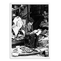 Pknbfw 書店で読む少年瓦礫ポスターとプリント壁ロンドン絵画洗面所トイレの装飾白黒アート画像-50x70cmフレームなし