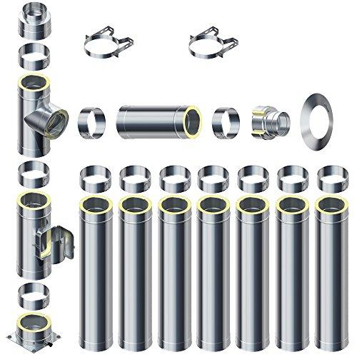 Raab Edelstahl Schornstein 0,5mm DW 180 V4A Set 25 mm Isolierung 8,7 m