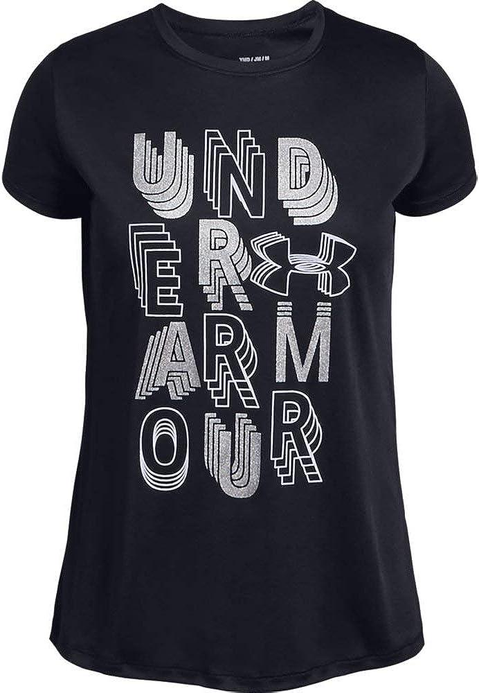Under Armour girls Linear Wordmark Short Sleeve T-shirt