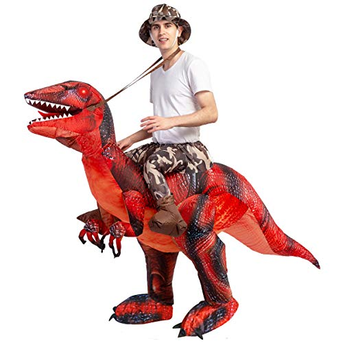 GOOSH Inflatable Dinosaur Costume Riding a T-REX Air Blow-up Deluxe Halloween Costume Red (55 INCH Body height) (Red 11-14 Yrs 63″ Height)