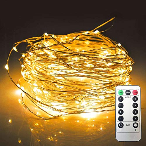 KRY 8 Modes 200LED Fairy String Light,65.5ft Waterproof Copper Wire String Light, Battery Powered with Remote Christmas Light for Outdoor Indoor Home Holiday Wedding Party Patio Decoration