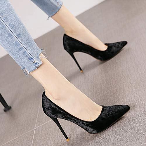 HRCxue zapatos de la Corte Puntiagudo Diamante Terciopelo Boca Baja Estilete súper Tacones Altos Personalidad de la Moda champán Solo zapatos Femeninos, 39, negro