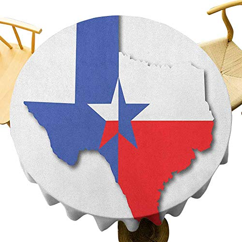 Texas Star Tablecloth - 40 Inch Round Tablecloth Lightweight Outline of The Texas Map American Southwest Austin Houston City Holiday Decoration Vermilion White Violet Blue