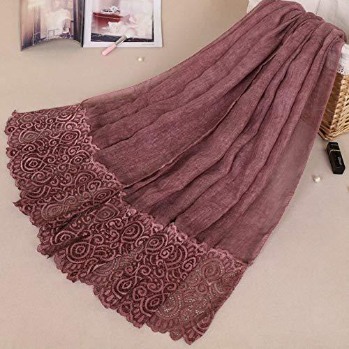 THTHT dames sjaal sjaal mode monochroom katoenen kant modieuze ventieldeksel eenvoudige vakantie Islam geschenk ademende materialen rode wijn