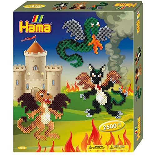 Hama 3245 Dragons Gift Box Geschenkpackung Drachen, Bügelperlen Midi, ca. 2500 Stück inklusive Stiftplatte und Zubehör, bunt, Einheitsgröße