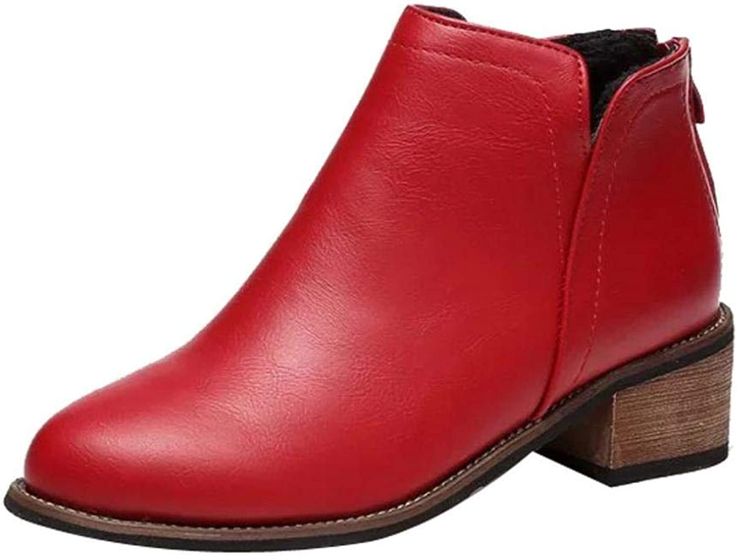 So8ooa Lady Boots Fashion Women Martin Boots Ankle Boots Scrub Thick Heel Leisure Elegant Cosy Wild Tight Super Quality Black Red Grey for Womens