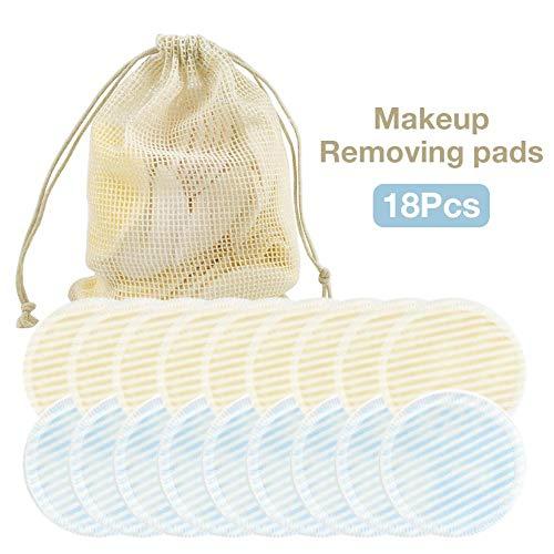 Tampons démaquillants réutilisables - Coton fibre de bambou Rounds Pads pour le visage avec des yeux Sac à linge, 18 Pcs