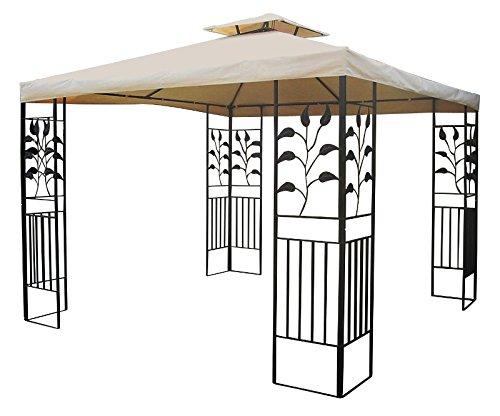 Trendkontor Metall Pavillon Ranke 3 x 3 m WASSERDICHT in versch. Farben (BEIGE)