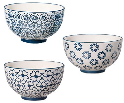 Bloomingville Schalen Kristina, saphirblau, Keramik, 3er Set