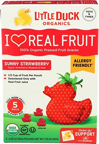 Little Duck Organics, Fruit Snacks Sunny Strawberry Organic 5 Count, 1.75 Ounce