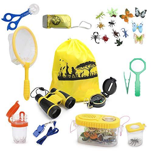 welltop Kit de Aventura para niños, Kit de exploración al Aire Libre de 25 Piezas Brújula de Camping Linterna Lupa Lupa Niños Binoculares Insecto de Insectos Juego de Herramientas de Captura Juguetes