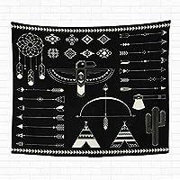 60x80インチタペストリー壁掛けナバホアメリカン要素コレクション部族プリントアステカのロゴとバッジインドのネイティブ家の装飾タペストリー壁の寮のリビングルームの寝室 150X100CM