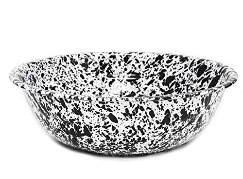Enamelware Medium Basin, 8 quart, Black/White Splatter (Single)
