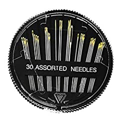1. 30pcs Hand Sewing Needles in 1 Round Compact -- 8pcs 2.9cm, 8pcs 3.6cm, 8pcs 4.1cm, 3pcs 4.6cm, 2pcs 5cm, 1pcs 4.2cm, and then, we gift 2 quality threaders; 2. Low Resistance, Easy to Use -- The tip is very small, and the tail has a grooved design...