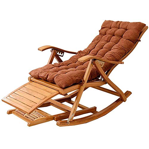 Buzhidao Relaxsessel Liegeklappstuhl Klappstuhl Schaukelsessel Liegestuhl Bambusstuhl Schlafzimmer Pausenraum Liegestuhl Garten Terrasse (Farbe: Lila-B) Khaki-B-Brown-B
