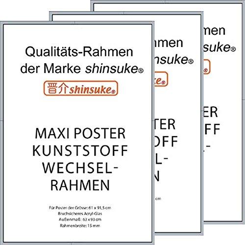 3 Stück Wechselrahmen Shinsuke® Maxi-Poster 61,5x91cm Qualitätsrahmen, Profil: 15mm - Kunststoff silber, Acrylscheibe beidseitig foliengeschützt