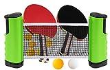 Table Tennis Set & Ping Pong Paddles - Retractable Tabble Tennis Net (Bracket Clamps) + 2 Packs Premium...