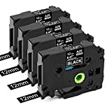 Suminey Compatible Label Tape Replacement for Brother TZe-335 TZ-335 P-Touch TZe 12mm 0.47 Inch Laminated P-Touch Label Maker Tape for Ptouch PT-D210 PT-H110 PT-D400 Label Maker, White on black, 4Pack