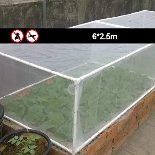 Insekt Netz Vogel Netz, Insekt Schutz Netz, Wachsen Tunnel Feines Netz Pflanze Gemüse Ertrag Schutz Netting Insekt Netting, Schutznetz Ernte von Insekten, Vögel, Kleine Tiere (10x2.5M) - Weiß, 6x2.5m