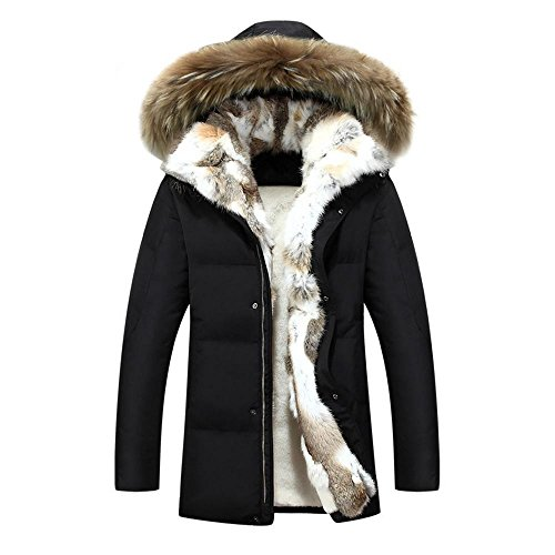 HZCX FASHION Men's Fur Collar Hooded Warm Fleece Lined Down Jackets and Coats(Black,S(36))