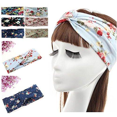 habibee 6 Pack Women Headbands Boho Floal Style Criss Cross Head Wrap Hair Band