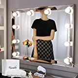 Chende Vanity Lights for Mirror, Big DIY Hollywood Style Makeup Lights Stick on, LED Bathroom Mirror Lights with Dimmer and 12V Adapter for Makeup Vanity, 10 Large Light Bulbs (Mirror Not Include)