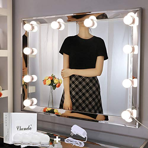 Chende Vanity Lights for Mirror, Hollywood Style Makeup Light Stick on, Large 10 Daylight Dimmable LED Bulbs with AC Adapter, for Makeup Vanity Table & Bathroom Mirror, Mirror Not Included