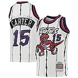 DFGHU Camiseta de baloncesto para hombre con diseño de Raptor Jugador Repetible Limpieza Carter Jersey #15 Blanco, blanco, XXL