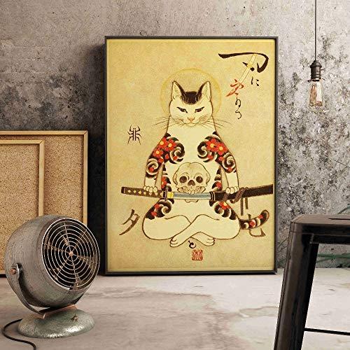 SIRIUSART Japonés Flotante Decorativo Gato samurái Estilo Retro Arte de la Pared decoración del hogar póster Lienzo Pintura habitación Cuadro Decorativo 30x40 cm (sin Marco)