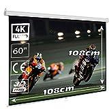 Pantalla de proyección Manual 60' Formato 1:1, Area Blanca 108 x 108 cm, Cajetin de Acero 128 cm, Pantalla para proyector Compatible hasta 4K